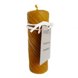 Świeca z wosku pszczelego w kształcie walca grawerowanego W007