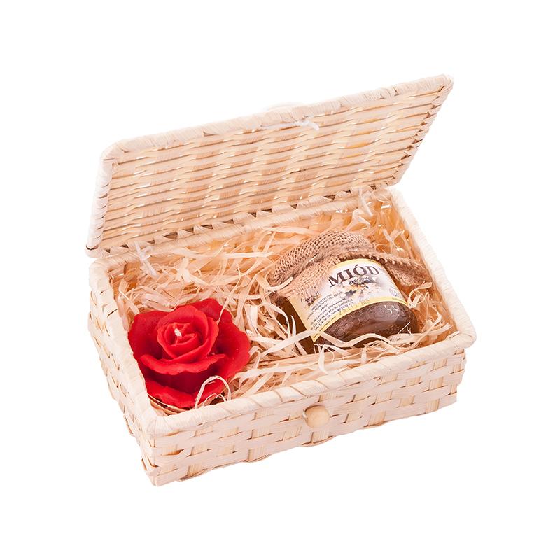 M005 Zestaw prezentowy miód i świeca z wosku w koszyku